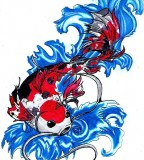 Red Blue Koi Fish Tattoo
