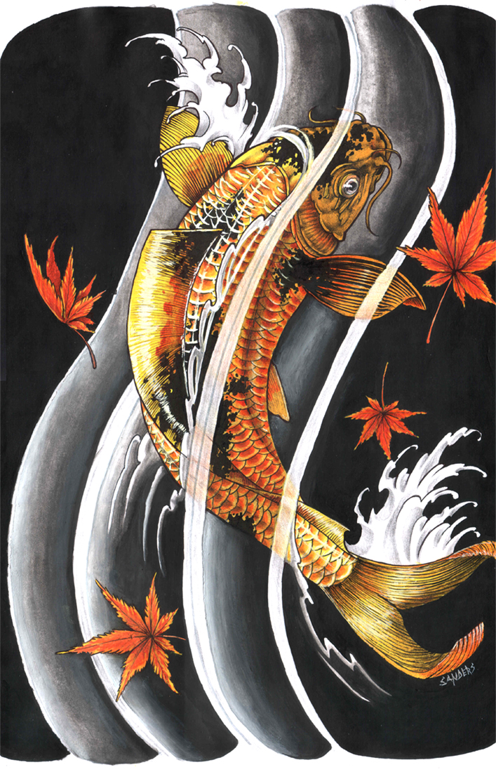 Cool oriental japanese gold lucky koi fish tattoo tattoomagz for Japanese koi design