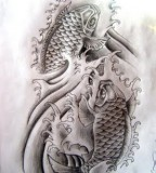 Koi Fish Tattoo Designs Black And White Sample
