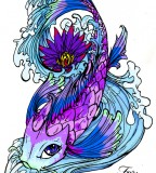 Violet Koi Fish Tattoo Design Sample