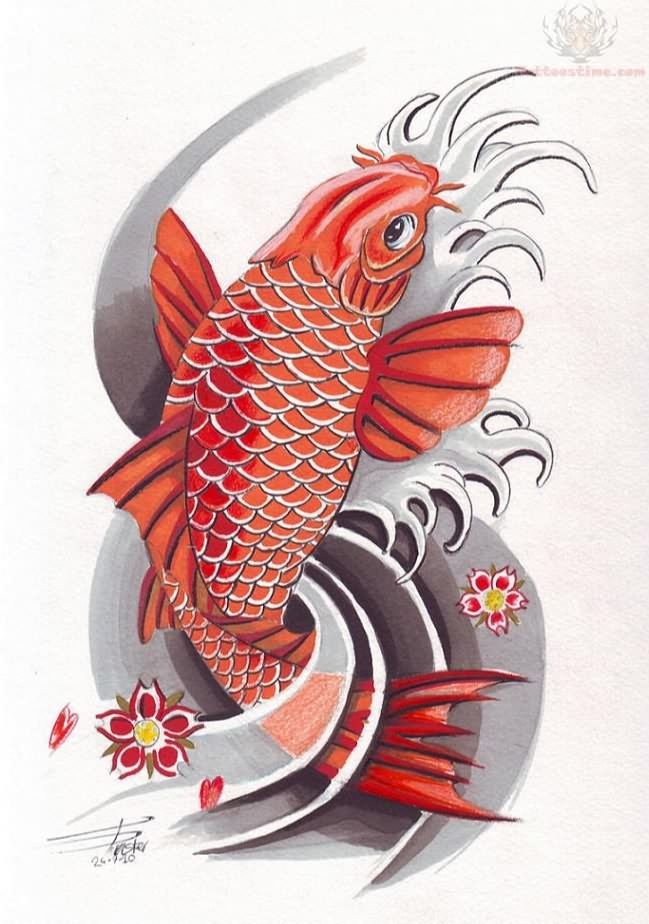 Red japanese koi tattoo tattoomagz for Japanese coy fish tattoo