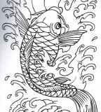 Japanese Koi Outline Tattoo Design