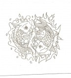 Water And Fire Koi Fish Tattoo Design