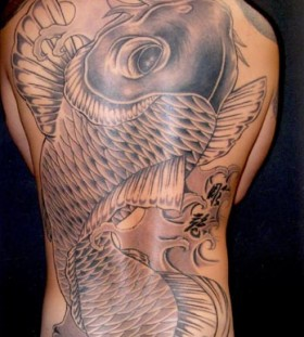 Full Back Piece Japanese Koi Coy Fish Tattoo Design