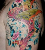 Charming Japanese Koi Coy Fish Tattoo Design on Left Arm