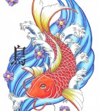 Japanese Red Colored Koi Coy Fish Tattoo Design