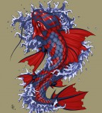 Red Blue Colored Koi Coy Fish Tattoo Design by Dhex on Deviantart