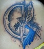 Beautiful Crescent Moon with Blue Fairy Tattoo Design