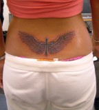 Cool Wing Tattoo Design for Women's Lower Back