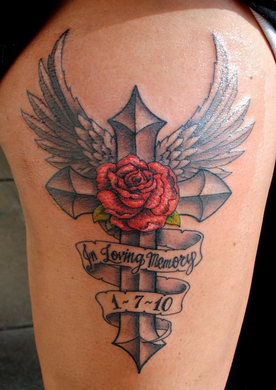 angel memorial cross and rose tattoo ideas tattoomagz. Black Bedroom Furniture Sets. Home Design Ideas