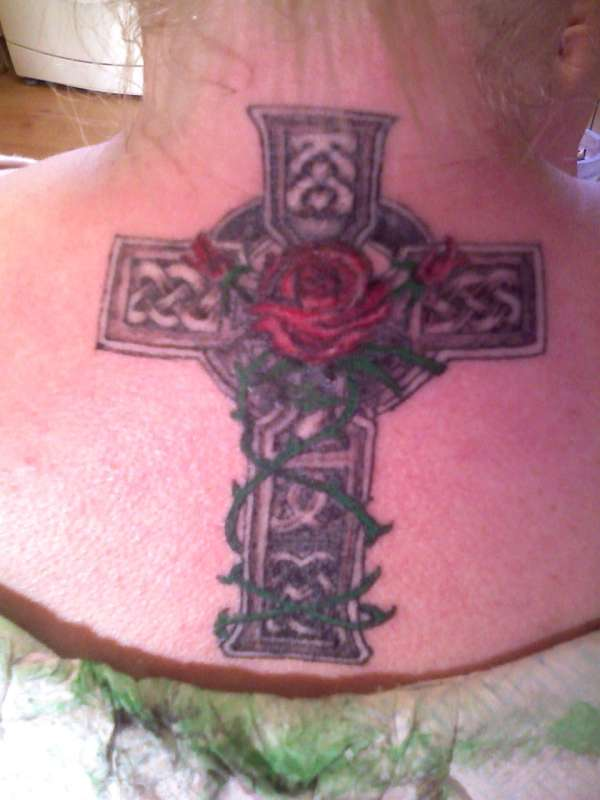 Exotic Celtic Cross With Rose Tattoo For Girls