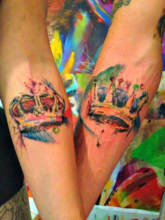 crown watercolor tattoo