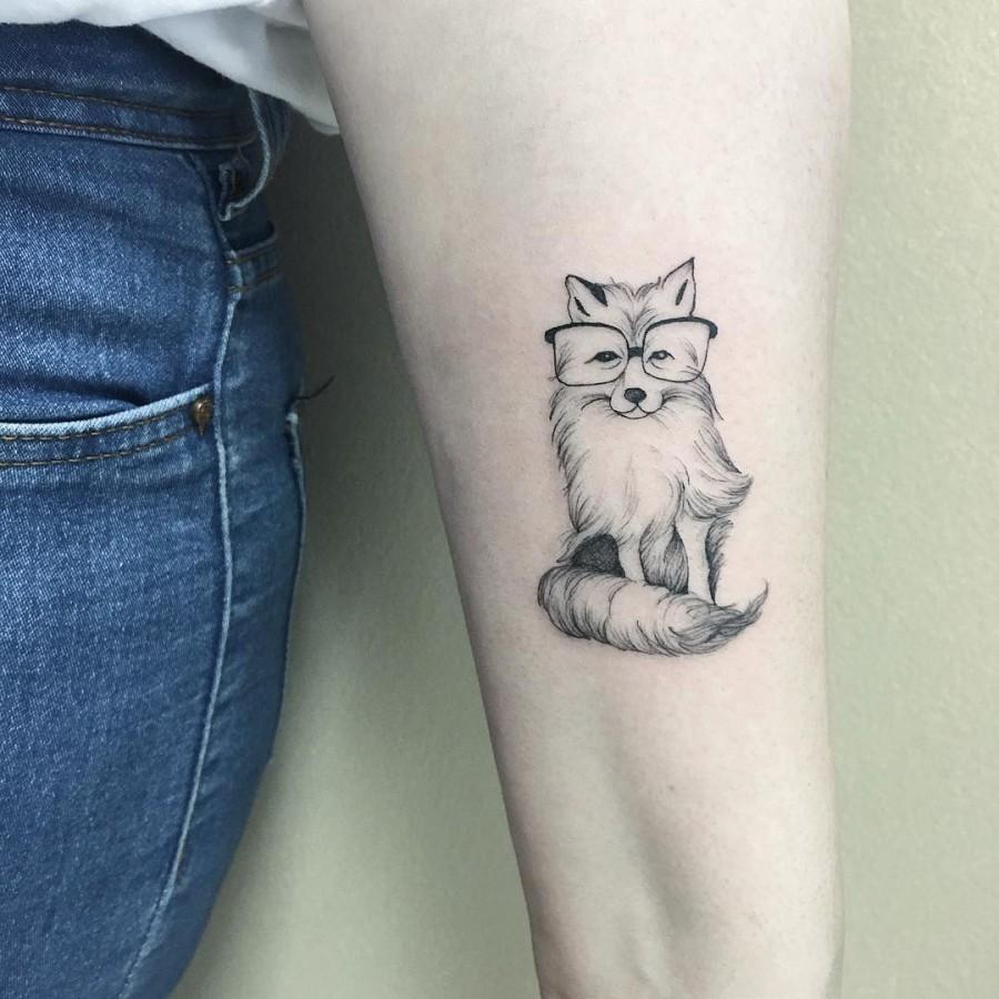 cute-fox-with-glasses-tattoo-by-luiza-blackbird