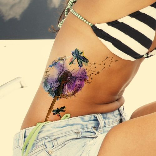 dandelion watercolor tattoo on ribcage
