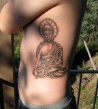 Budha Tattoo Design In Left Side Body