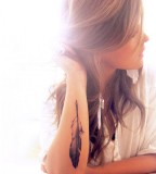 Cute Feather Tattoo for Girl