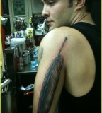 Feather Tattoo Design On Upper Arm