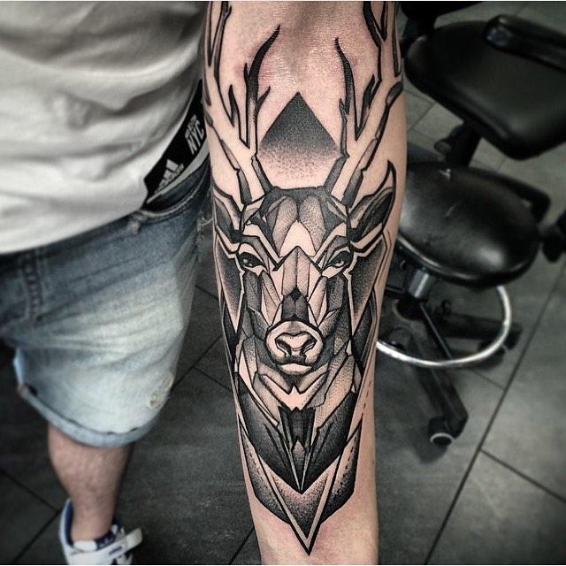 deer geometric arm tattoos for men