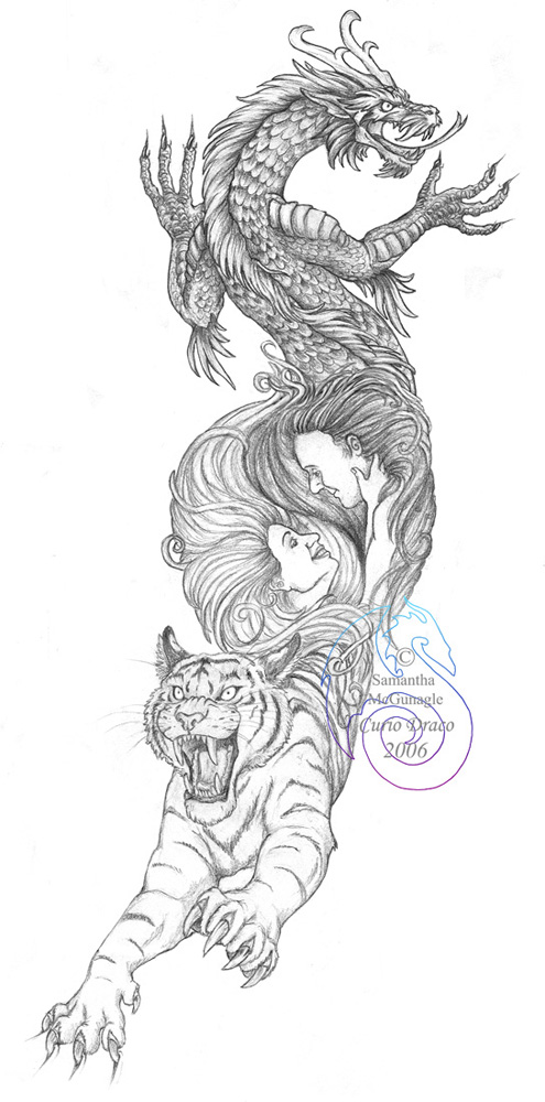 Fun Dragon Tiger Tattoo Sketch