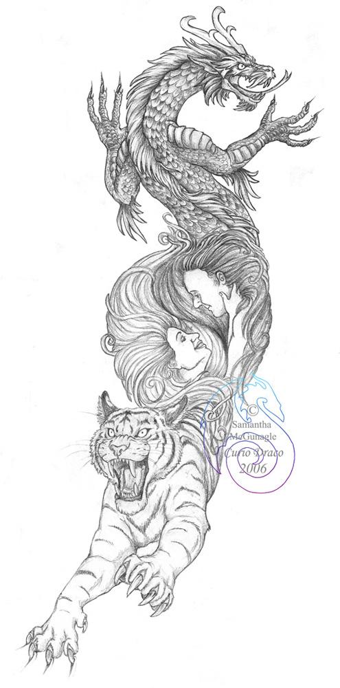 Fun Dragon Tiger Tattoo Sketch