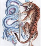 Dragon And Tiger Fighting Interface Tattoo