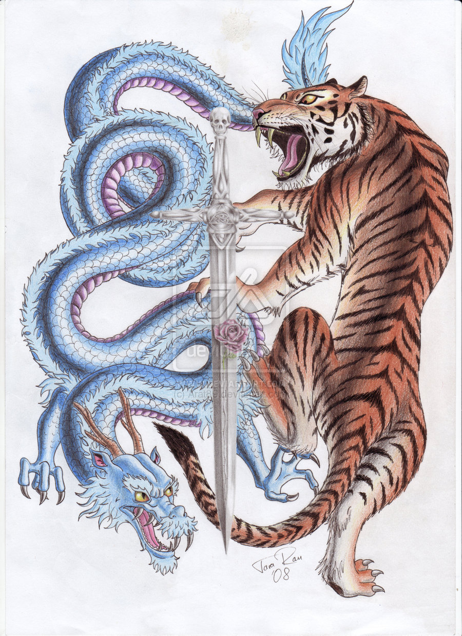 dragon and tiger fighting interface tattoo. Black Bedroom Furniture Sets. Home Design Ideas