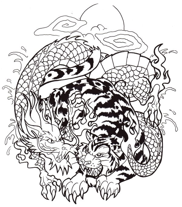 The Fighting Dragon Tiger Tattoo Pictures Tattoomagz