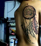 Amazing Creative Dreamcatcher Back Tattoo Design