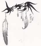 Tribal-Eagle Feather Tattoo Design by Syrazel (Deviantart)