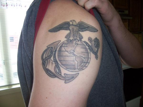 Eagle Globe And Anchor Right Shoulder Tattoo - TattooMagz