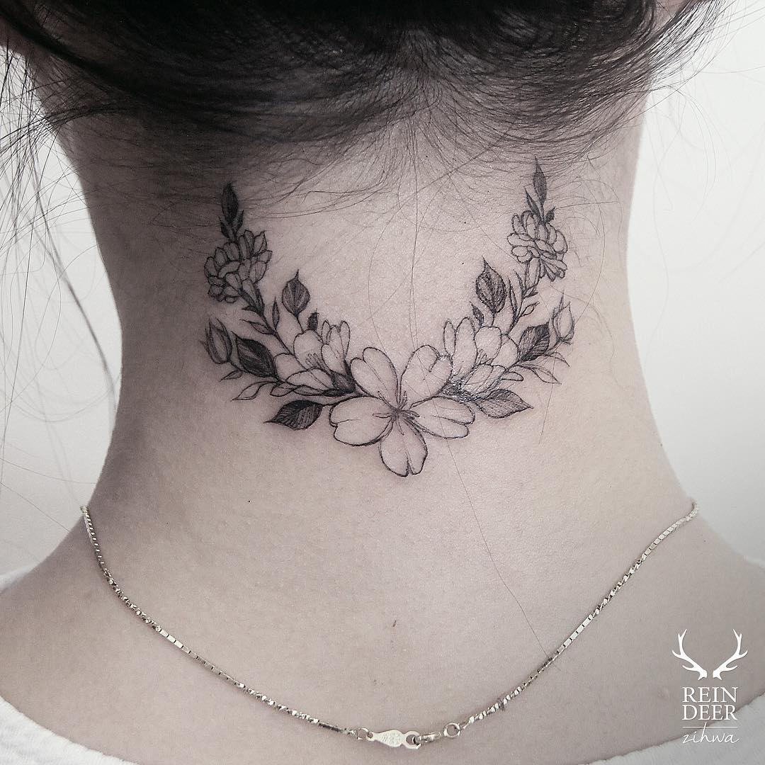 40 Small And Sexy Neck Tattoos For 2016: 24 Breathtaking Flower Tattoos By Zihwa