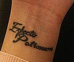 Wrist Art Full Cursive Harry Porter Expecto Patronum Tattoo