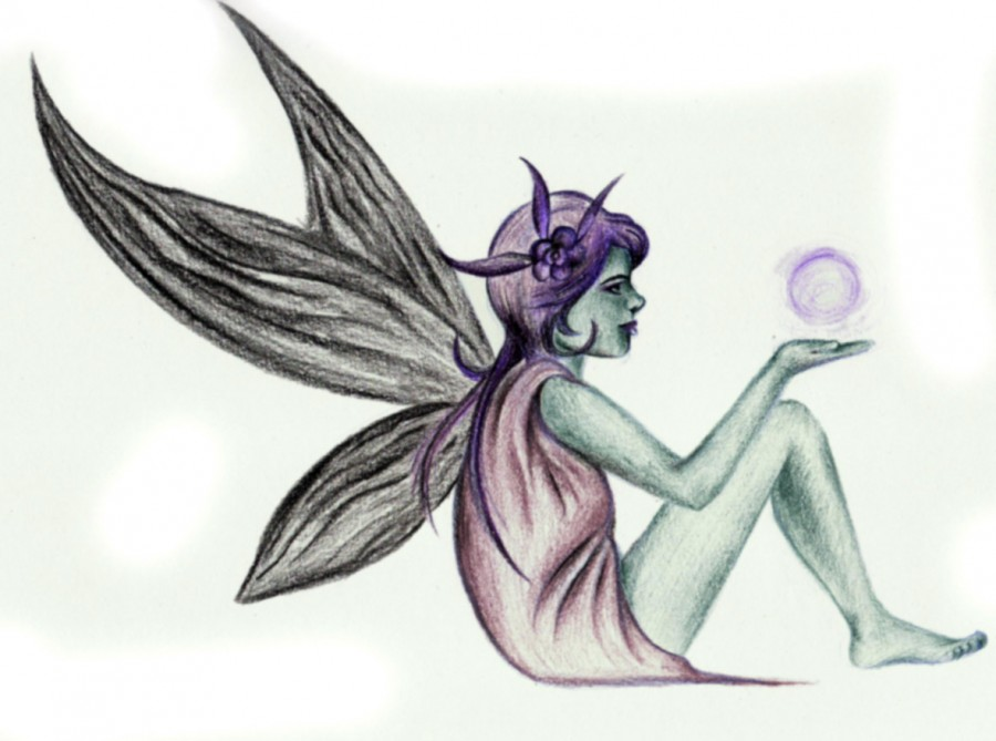 beautiful fairy tattoo design sketch. Black Bedroom Furniture Sets. Home Design Ideas