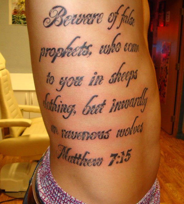 Awesome Rib Cage Bible Verse Matthew 7 15 Tattoo Designs For Men