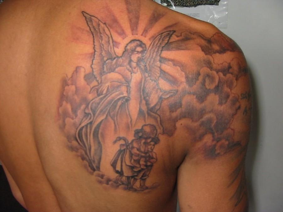 Nice Shoulder Blade Angel Tattoo Design For Men Angel Tattoos