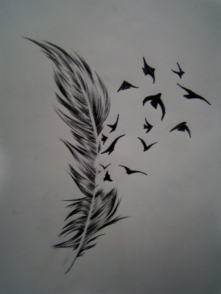 Feather with Birds Tattoo Design