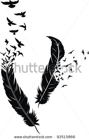 Two stylized feathers with scattering birds tattoomagz two stylized feathers with scattering birds urmus Images