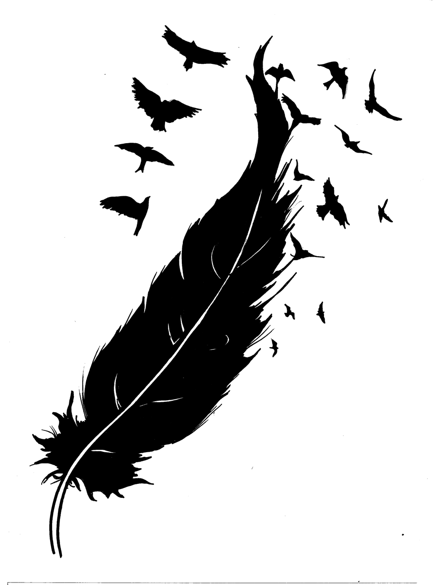 """Feather into Birds"" Sketch for Tattoo Design"