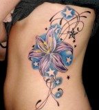 Feminine Swirly Flowers and Stars Rib-cage / Hip Tattoo Design for Women