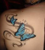 Feminine Sparkly Blue Butterfly Upper-back / Shoulder Tattoo Designs for Women