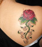 Beautiful Feminine Red Rose Upper-back Tattoo Designs for Women