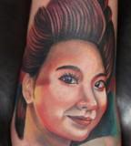 Feminine Face Tattoo Design on Feet - Tattoos for Women