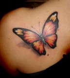 Beautiful Feminine Life-like Butterfly Upper-back Tattoo Designs for Women