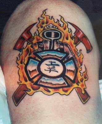firefighter tattoos and fire department tattoo policies. Black Bedroom Furniture Sets. Home Design Ideas