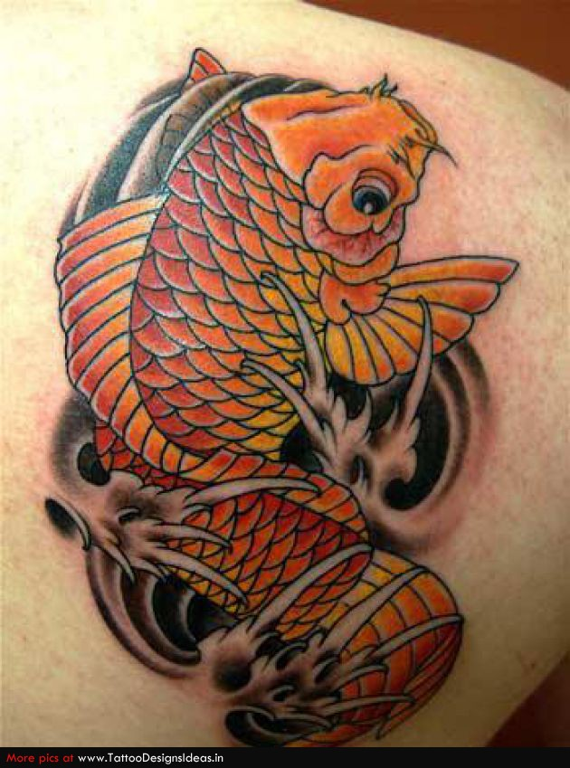 21 Koi Fish Tattoo Designs Ideas: Simple Tattoo Design Of Koi For Man