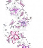 Stars Flower Butterflies Tattoo Sketch