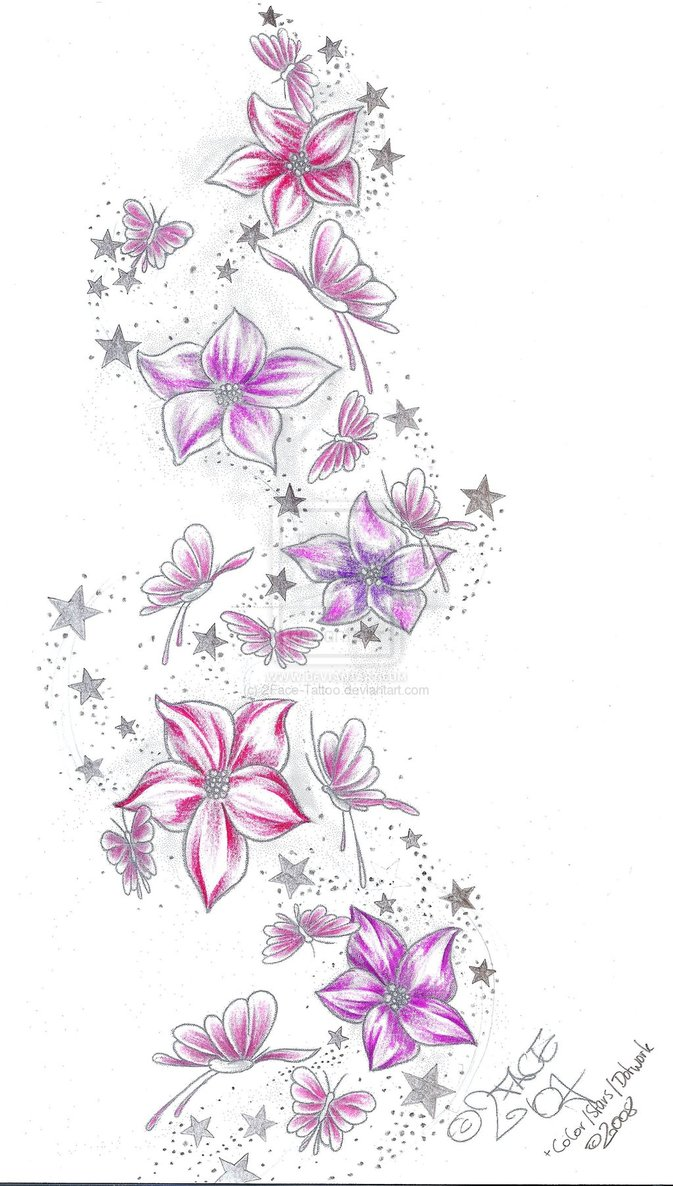 Stars Flower Butterflies Tattoo Sketch Tattoomagz