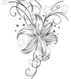 Girl Tattoo Flower Stars Sketch