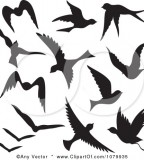 Fascinating Flying Bird Silhouettes Vector Tattoo Clipart