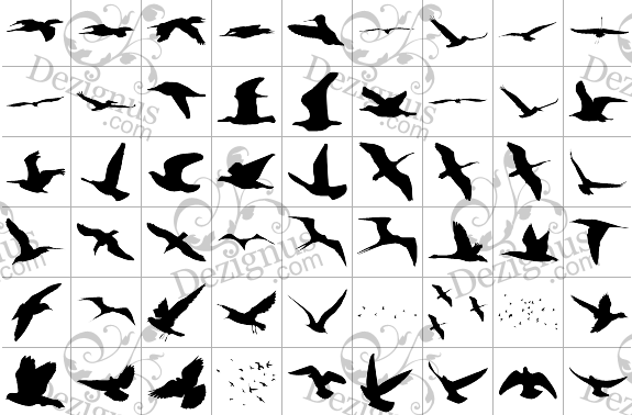 flying birds silhouettes tattoo style clipart tattoomagz